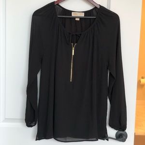 Michael Kors black zip up blouse